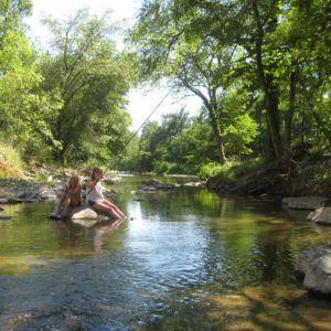 Visvangst in de rivier